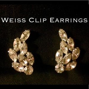 Vintage Clip Earrings—Signed Weiss